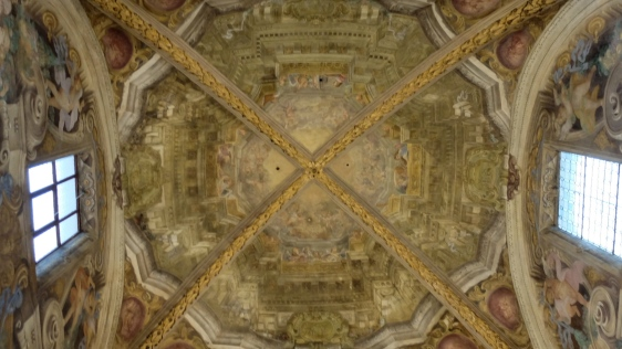 The chapel's trompe l'oeil ceiling